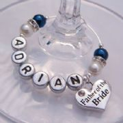 Father Of The Bride Personalised Wine Glass Charm - Elegance Style